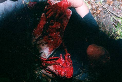 Still from Opening the Mind of Eric James pulling his guts out
